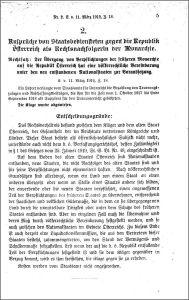 VfGH-Entscheidung vom 11.3.1919
